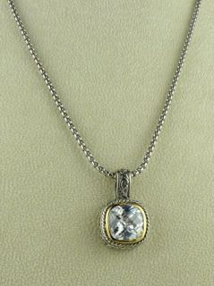 Designer Inspired Square Cable Crystal 2 Tone Necklace
