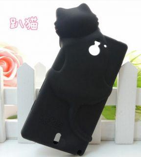 Black Cute Kiki Cat Silicon Back Cover Case for Sony Xperia Sola MT27i
