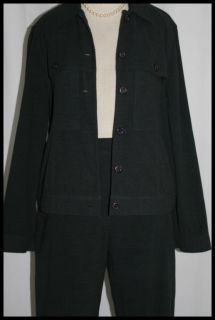 Stretch Jacket Pant Suit Kim Rogers Charcoal Gray 8