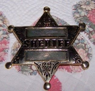 New Metal Toy Sheriff Badge with Pin Back Looks Authentic Gold Color 2