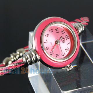 Fashion Kids Children Steel Wire Round Snake Girls Bracelet Quartz