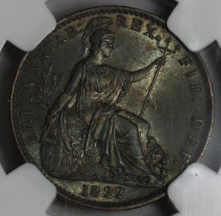 1822 NGC MS 64 Farthing King George IV Old US Money Great Britain