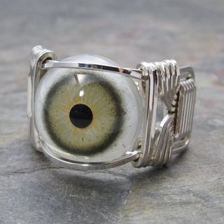 Green & Yellow Glass Eye Eyeball Sterling Silver Wire Wrapped Ring ANY