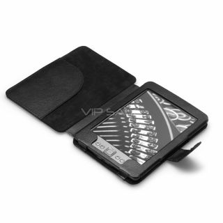 Kindle 4 Black Premium Leather Cover Case with Compact Reading Light