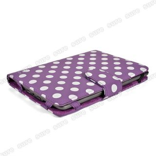 For  Kindle Touch Leather Case Cover 6 Purple Polka Dot