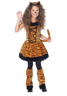 Toddlers Plush Tiny Striped Tiger Dress Outfit Kids Halloween Costume