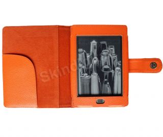 For  Kindle Touch eReader Orange Genuine Leather Case Cover