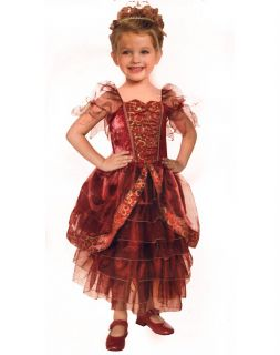 Crimson Princess Costume Red Gold Queen Girl Child New