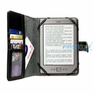 Kindle Touch Black Leather Cover Case with Pockets and LED Reading