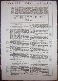 1ST EDITION KING JAMES HE BLACK LETTER BIBLE LEAF/RARE/TITLE PSALMS