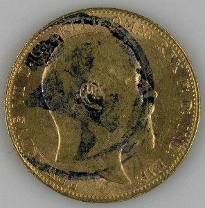 1906 King Edward VII Genuine 22K Gold Sovereign Uncirculated