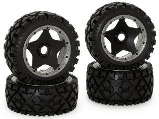 King Motor 1 5 RC Baja All Terrain Rims Tires Full Set Front Rear HPI