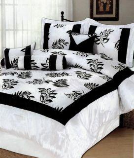 Black White Flocking Floral Satin Comforter Set King