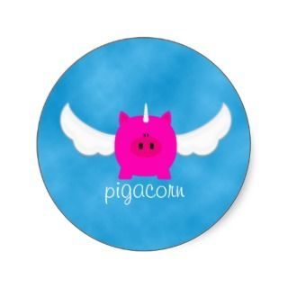 Flying Pigacorn Round Sticker