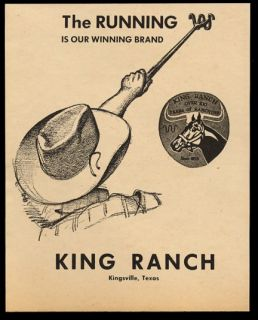 1970 The King Ranch Kingsville Texas Quarter Horse Logo Art Vintage