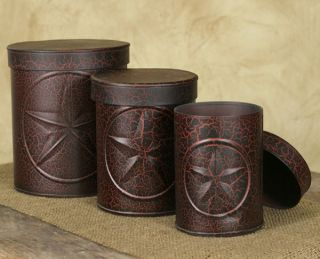 3pc Tin Star Canister Set Country Primitive Home Kitchen Decor Color