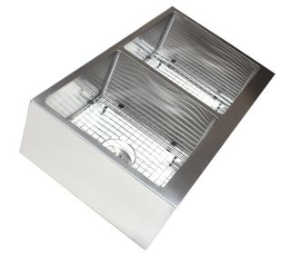 Radius Stainless Steel Farmhouse Apron Double Bowl Kitchen Sink