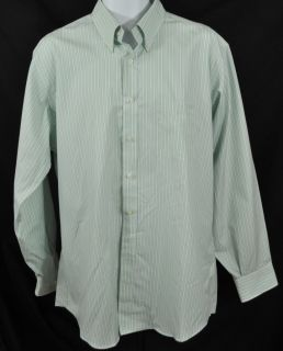 New Kirkland Signature Mens Long Sleeve Dress Shirt Green White Stripe