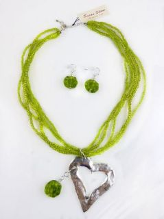 Plated Heart and Green Bead Necklace Earring Set Susan Shaw