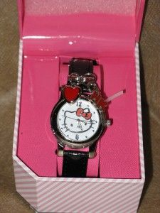 New Hello Kitty Kimora Lee Simmons Sanrio Charm Accent Watch Black