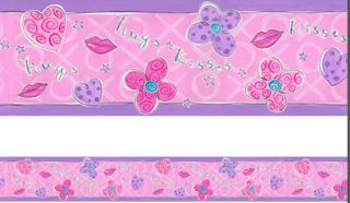 Little Girls Hugs Kisses Hearts Lips Wall Border Unlimited 1 Roll New
