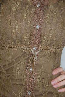 XL Hugging Kisses Lace Long Sleeve Tunic Top Brown Jewel Button Front