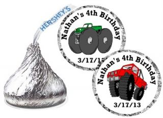 Monster Truck Birthday Party Favors Hershey Kiss Kisses Labels