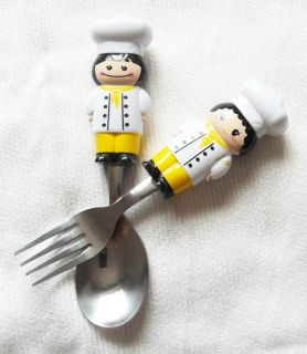 Cartoon Kitchener Silver Spoon Fork Set Stainless Steel