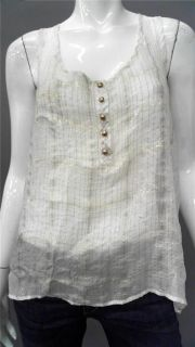 Patterson J Kincaid La Ladies Womens M Sheer Tank Top White Metallic