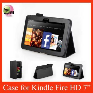 Leather Case Cover for New  Kindle Fire HD 7 Tablet Black