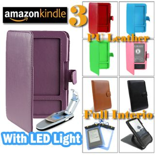 Leather Case Cover with LED Light for  Kindle 3 3g keyboard
