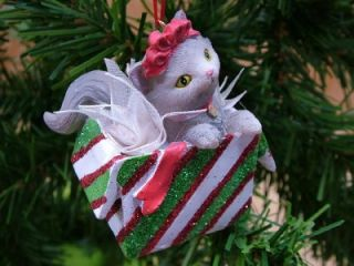 New Bow Kitten Cat Playing Christmas Present Ornament