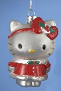 Hello Kitty in Red Holiday Dress Glass Christmas Tree Ornament