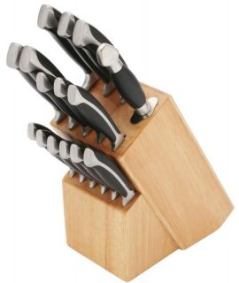 Forged Cutlery in Wood Block Kitchen Bolster Knife Set Knives