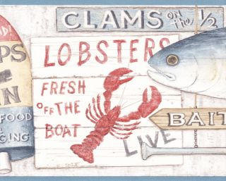 Country Kitchen Seafood Lobster Crab Clam Wallpaper Border Wall