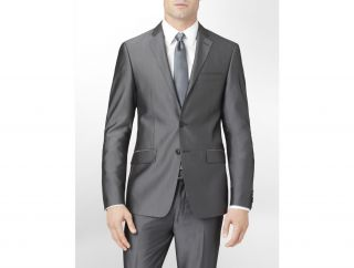 Calvin Klein Body Slim Fit Herringbone Suit Jacket Mens