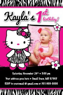 Hello Kitty Zebra Print Dress Invitation Printable 1st Birthday Party