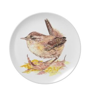 Cute Watercolor Wren Bird, Nature, Wildlife Garden Party Plates