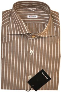 New KITON Napoli Authentic Men Shirt Brown White Stripes Cotton 41 16