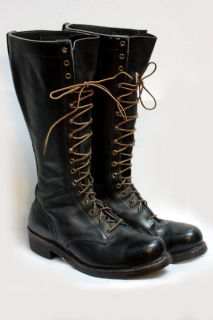 Vtg Mens Knapp Black Lace Up Combat Boots Sz 10