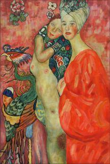 Hand Painted Oil Painting Repro Gustav Klimt Freunddinnen