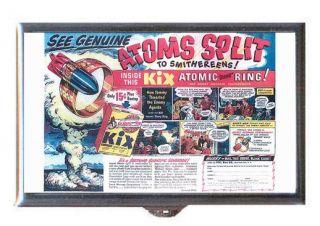 Kix Cereal 1950 Atomic Bomb Ring Retro Ad Guitar Pick or Pill Box USA