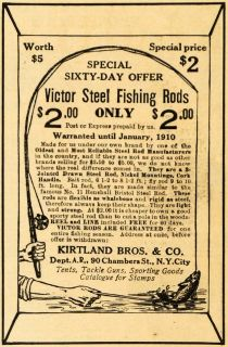 1909 Ad Victor Steel Fishing Rod Kirtland Fish Hook   ORIGINAL