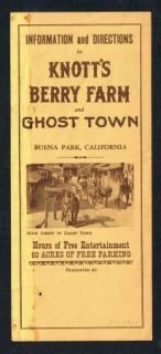 Knotts Berry Farm Directions Information Brochure 1957 Scarce Edition