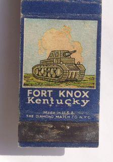 Matchbook Army Tank Military Fort Knox KY Bullitt   Hardin   Meade Co
