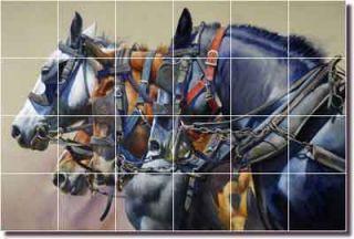 Horses Ceramic Tile Mural Kitchen Backsplash 25 5x17 JFA013