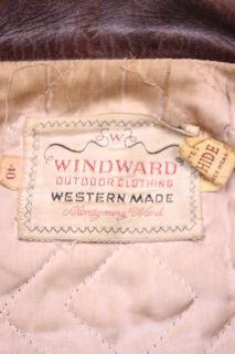 Vtg Windward 50s Cowhide Leather Motorcycle Jacket 40