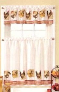 New Sets Chicken Rooster Kitchen Curtains Valances