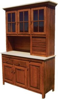 Amish Kitchen Hoosier Cabinet Hutch Baking Pantry Solid Wood Country
