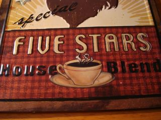 COFFEE Cafe Shop Country Kitchen Decor Embossed Wall Plaque Sign NEW